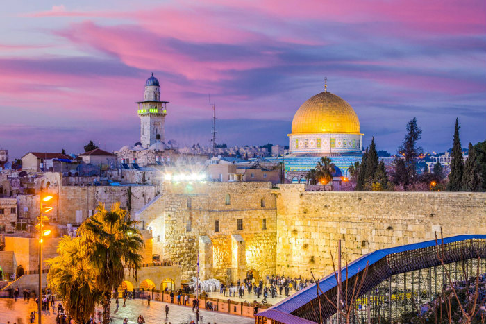 Twilight view of the Old City in Jerusalem