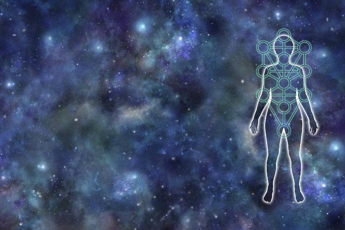 Blue and white space imagery with a floating illustrated outline of a human body