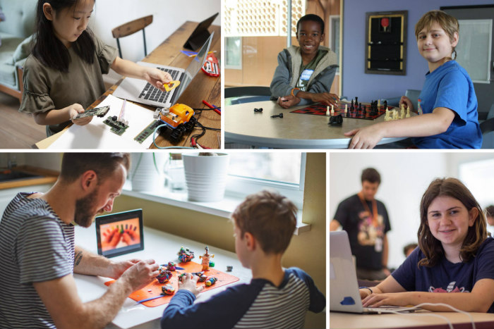 Collage of four images of kids doing various activities in front of a computer like chess and crafts