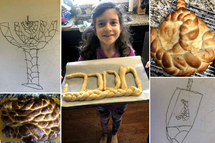 child holding a hanukkah challah