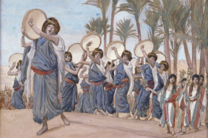 Illustration of Biblical women dancing and singing