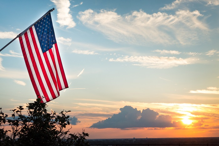 RJ-feature- american flag at sunset