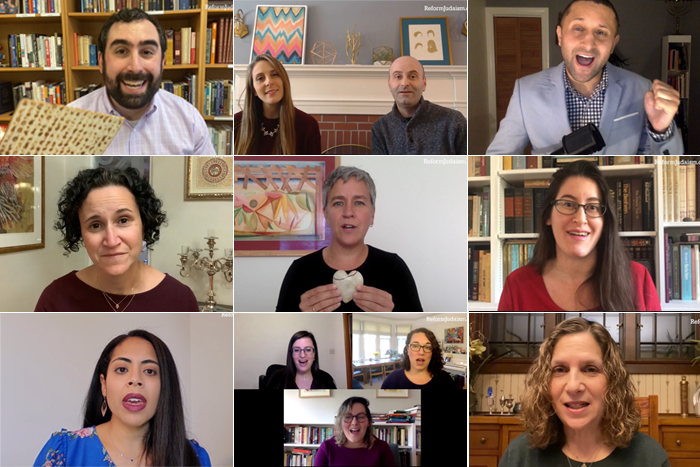 Nine images of Jewish leaders expounding on the parts of the Passover seder