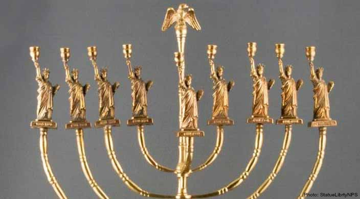 Menorah with Statue of Liberty candle holders
