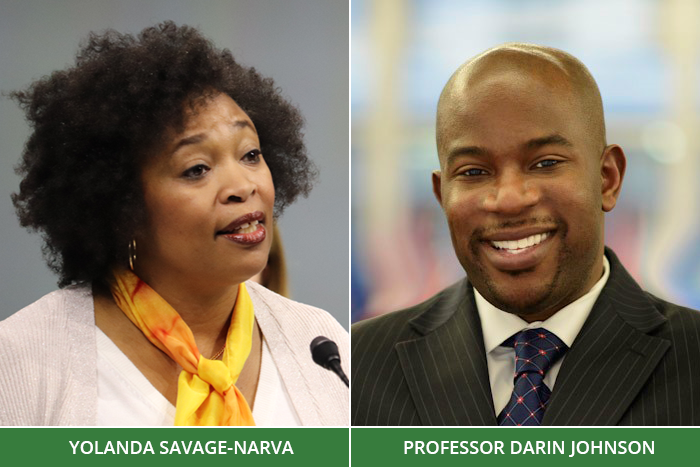Yolanda Savage-Narva and Professor Darin Johnson