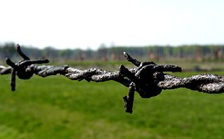 Rusty barbed wire at Auschwitz Birkenau a concentration camp in which victims of the Holocaust were executed. Yom Hashoah commemorates those individuals.