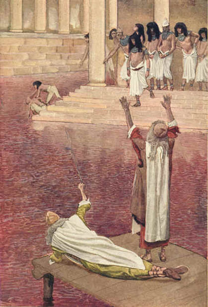 Water Is Changed into Blood, watercolor by James Tissot
