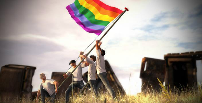 Men in white tees holding up an LGBTQ rainbow flag