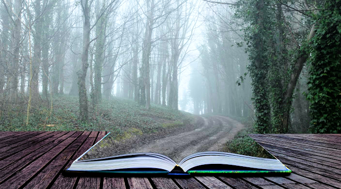 Open book showing a path leading off into a forest