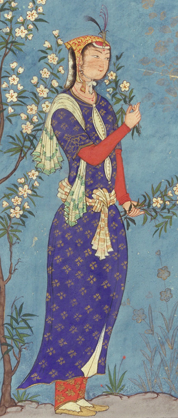 Safavid Lady holding Flowers with a feather in her cap