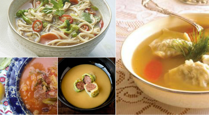 Collage of soups outlined in this blog post