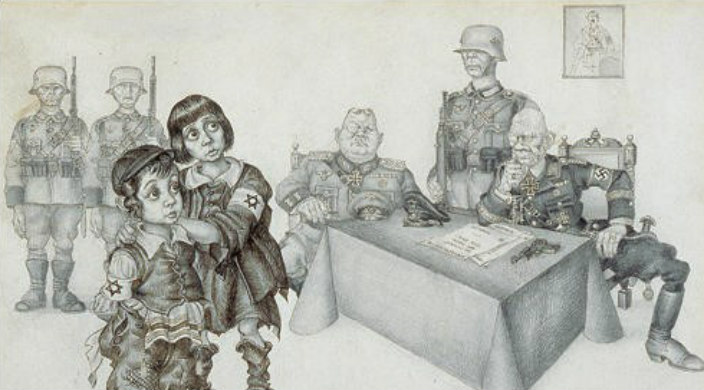 Drawing by Arthur Szyk portrays two Jewish children hugging one another while facing a group of adult male Nazis in uniform