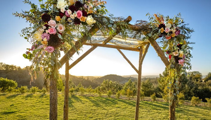 Chuppah for an outdoor Jewish wedding