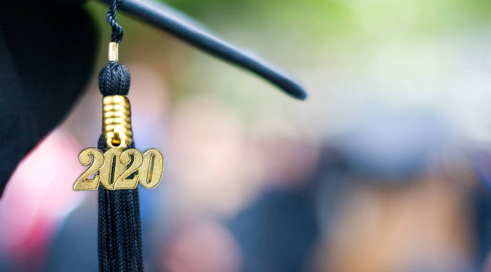 Closeup of the 2020 tassel on a black graduation cap