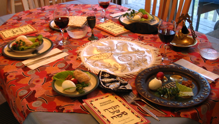 Seder table with wine at Passover