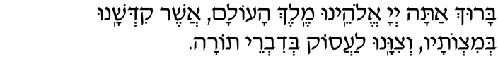 Baruch atah, Adonai Eloheinu, Melech haolam, asher kid'shanu b'mitzvotav v'tzivanu laasok b'divrei Torah.