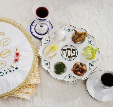 Seder plate for observing Jewish holiday of Passover - Pesach