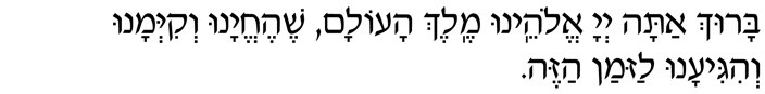 Baruch atah Adonai, Eloheinu Melech haolam, shehecheyanu, v'kiy'manu, v'higianu laz'man hazeh.