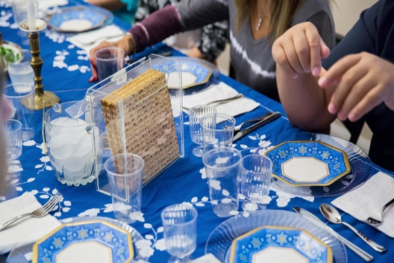 Passover Seder with Blue Tablecloth