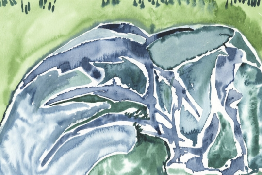 Abstract watercolor painting of a tidal pool
