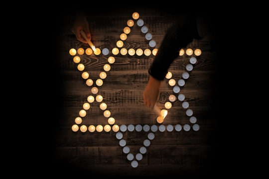 memorial candles in the shape of a Star of David