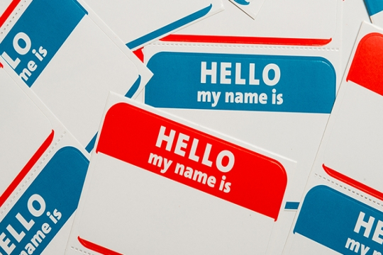 Nametags in blue and red