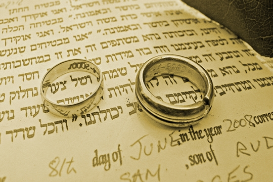 Ketubah, or wedding contract, with signatures and wedding bands