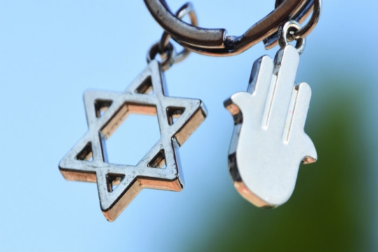Silver Star of David and hamsa charm