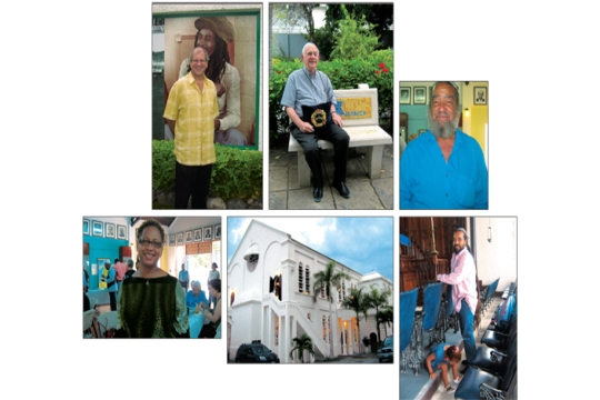 Clockwise from top left: Rabbi Dana Evan Kaplan outside Bob Marley Museum; Ainsley Henriques in synagogue courtyard; Patrick Mudahy; William & Gabrielle Rennalls; Congregation Sha'are Shalom; cantorial soloist Marie Reynolds. Photos by Judy Hirt-Manheimer
