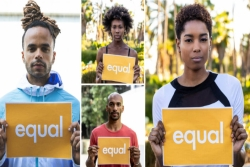 Collage of four Black individuals holding signs that say EQUAL