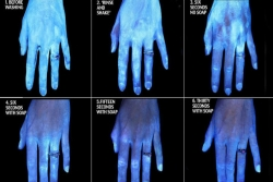 Blacklight image progression of a hand getting cleaner the longer it is washed with soap