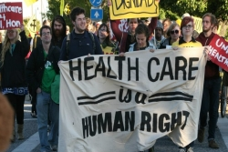 Protesters rallying for health care for all