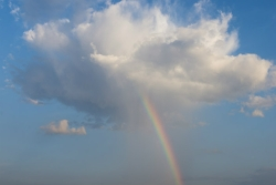 Rainbow coming out of a fluffy white cloud amid a blue sky