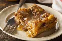 Apples and Honey Cake Bread Pudding with Butterscotch Sauce