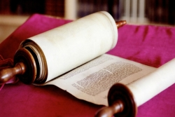 Open Torah scroll lying on a pink fabric