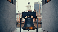 Liberty Bell with phrase from Leviticus, Proclaim liberty throughout all the land unto all the inhabitants thereof