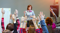 Students raise hands in class
