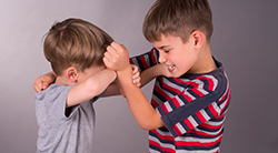 Two children fighting