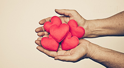 Hands offering a gift of hearts - Torah commentary on Parshah Trumah