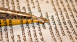 Torah yad points at the scroll