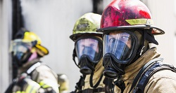 Firefighters in face masks