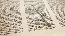 Torah scroll and pointer