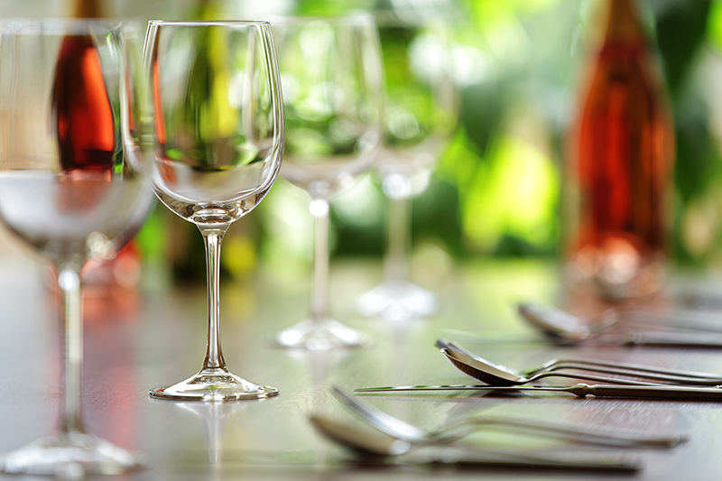 wine glasses on seder table